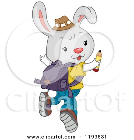 Cartoon of a Cute Student Rabbit Looking Back and Jumping - Royalty Free Vector Clipart by BNP Design Studio