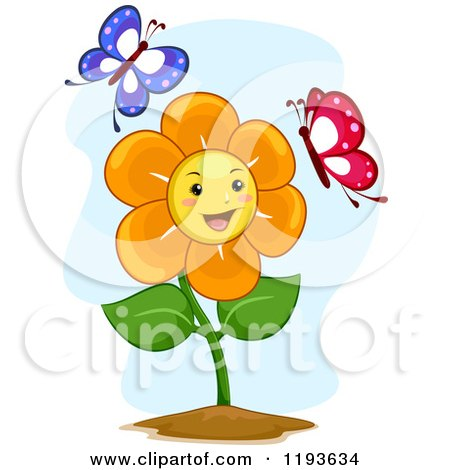 Cartoon of a Happy Flower Mascot with Two Butterflies - Royalty Free Vector Clipart by BNP Design Studio