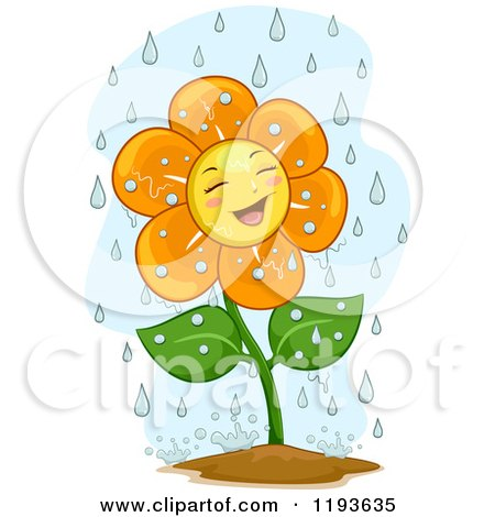 Cartoon of a Happy Flower Mascot in the Rain - Royalty Free Vector Clipart by BNP Design Studio