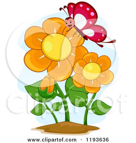 Cartoon of a Happy Butterfly Mascot and Orange Flowers - Royalty Free Vector Clipart by BNP Design Studio