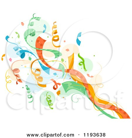 Cartoon of a Colorful Pop of Confetti Ribbons over a Splash - Royalty Free Vector Clipart by BNP Design Studio