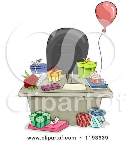 Cartoon of an Office Desk with a Balloon and Gifts - Royalty Free Vector Clipart by BNP Design Studio