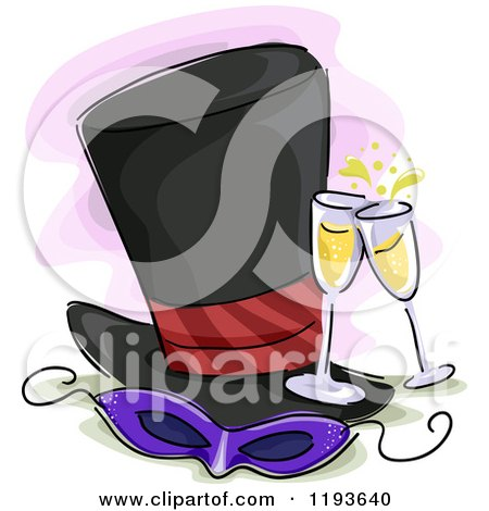 Cartoon of a Costume Party Mask Top Hat and Champagne - Royalty Free Vector Clipart by BNP Design Studio
