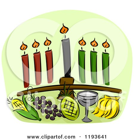 Cartoon of a Kwanzaa Kinara and Other Holiday Items over Green - Royalty Free Vector Clipart by BNP Design Studio