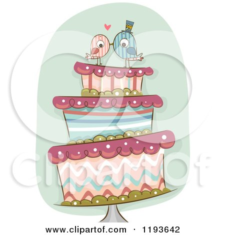 Cartoon of a Funky Wedding Cake with Kissing Bride and Groom Birds on Top - Royalty Free Vector Clipart by BNP Design Studio
