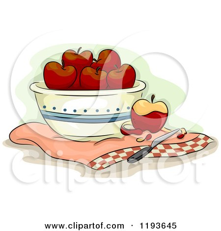Cartoon of a Bowl of Apples and a Knife - Royalty Free Vector Clipart by BNP Design Studio
