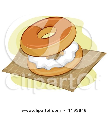 Cartoon of a Bagel and Cream Cheese on a Napkin - Royalty Free Vector Clipart by BNP Design Studio