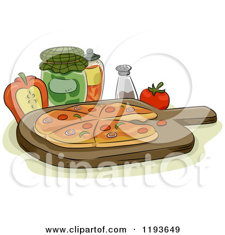 Cartoon of a Pizza on a Wood Pan with Condiments and Toppings - Royalty Free Vector Clipart by BNP Design Studio