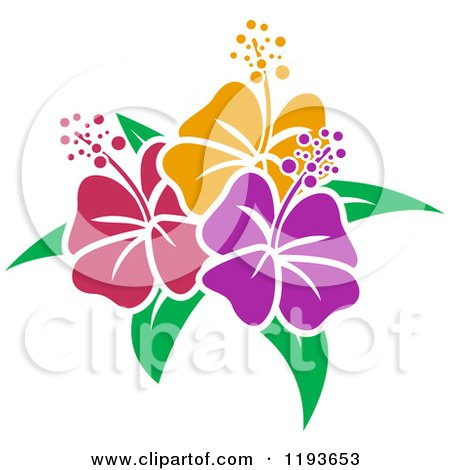 Clipart of Red Hibiscus Flowers with Bubbles and Green Leaves ...