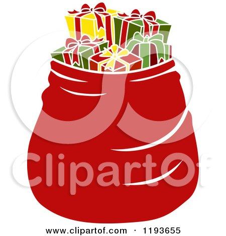 Cartoon of a Large Red Santa Bag Full of Presents - Royalty Free Vector Clipart by BNP Design Studio