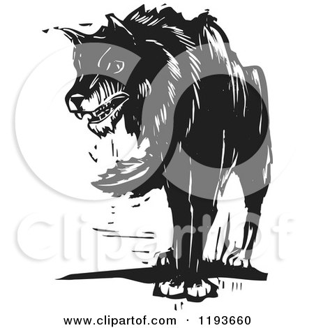 Growling Wolf Black and White Woodcut Posters, Art Prints