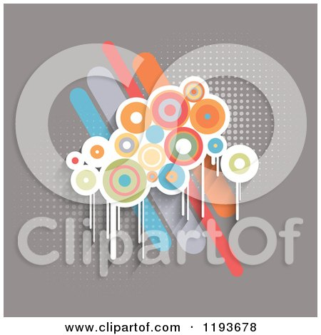 Clipart of Retro Grungy Circles over Bars on Gray with Halftone - Royalty Free Vector Illustration by KJ Pargeter