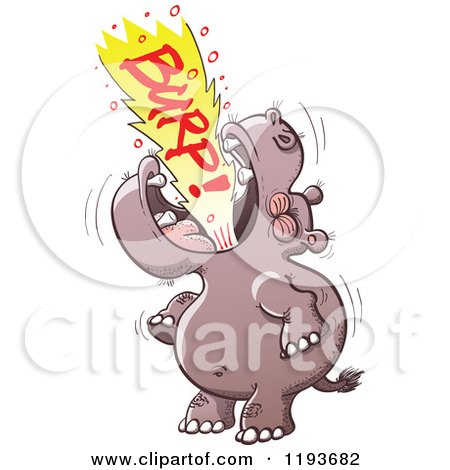 Cartoon of a Hippo Burping Loudly - Royalty Free Vector Clipart by Zooco