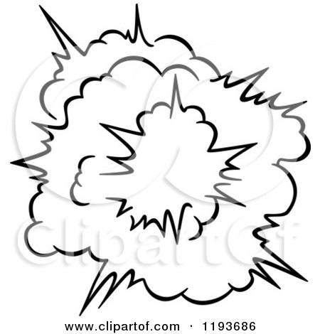 Clipart of a Black and White Comic Burst Explosion or Poof 20 ...