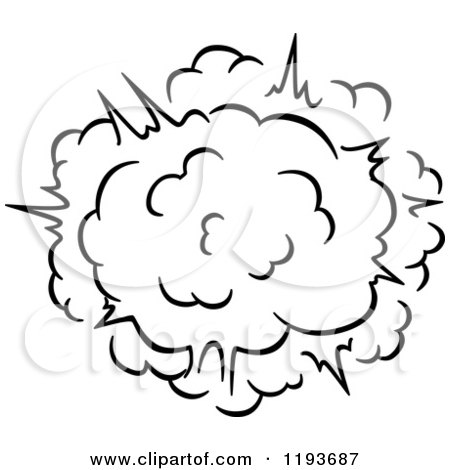 Clipart of a Black and White Comic Burst Explosion or Poof 8 - Royalty Free Vector Illustration by Vector Tradition SM