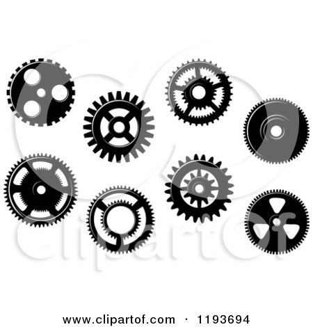 Clipart of Black and White Gear Cog Wheels 5 - Royalty Free Vector Illustration by Vector Tradition SM