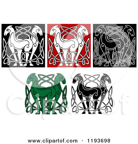 Clipart of Celtic Horse Knot Designs - Royalty Free Vector ...