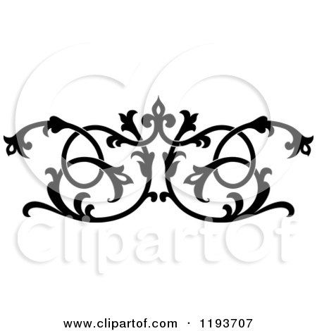 Clipart of a Black and White Ornate Floral Victorian Design Element 8 - Royalty Free Vector Illustration by Vector Tradition SM