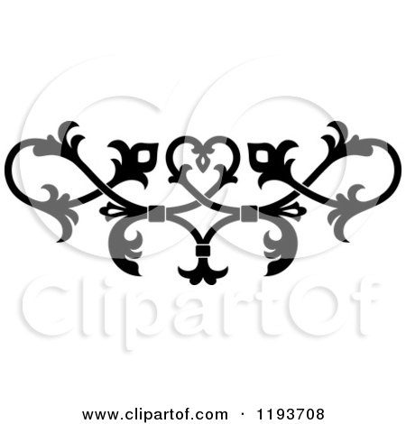 Clipart of a Black and White Ornate Floral Victorian Design Element 7 - Royalty Free Vector Illustration by Vector Tradition SM