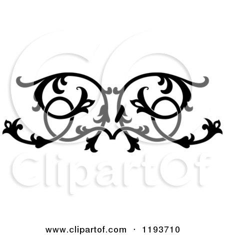 Clipart of a Black and White Ornate Floral Victorian Design Element 5 - Royalty Free Vector Illustration by Vector Tradition SM