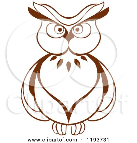 Clipart Of A Brown Owl 6 Royalty Free Vector Illustration