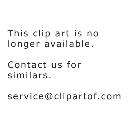 Cartoon of a Cow near a Scarecrow and Huts on a Hilly Landscape at Sunset - Royalty Free Vector Clipart by Graphics RF