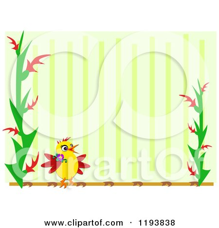 Cartoon of a Bird and Plant Frame over Green Stripes - Royalty Free Vector Clipart by bpearth