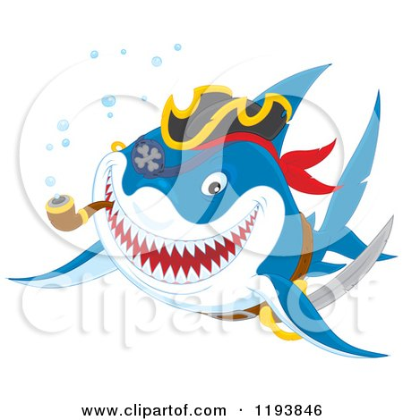 Cartoon of a Pirate Shark Smoking a Pipe - Royalty Free Vector Clipart by Alex Bannykh