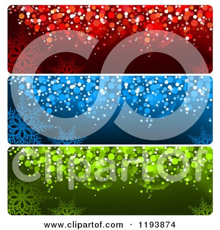 Clipart of Colorful Bokeh Snowflake Christmas Website Banners - Royalty Free Vector Illustration by dero