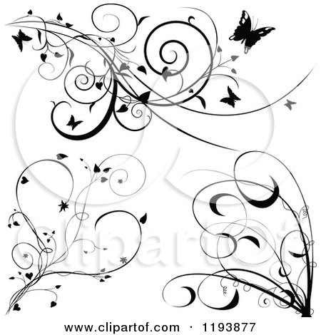 Clipart of Black and White Scrolling Vines with Butterflies Hearts and Tendrils - Royalty Free Vector Illustration by dero