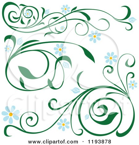 Clipart of Green Scrolling Vines with Blue Daisy Flowers - Royalty Free Vector Illustration by dero