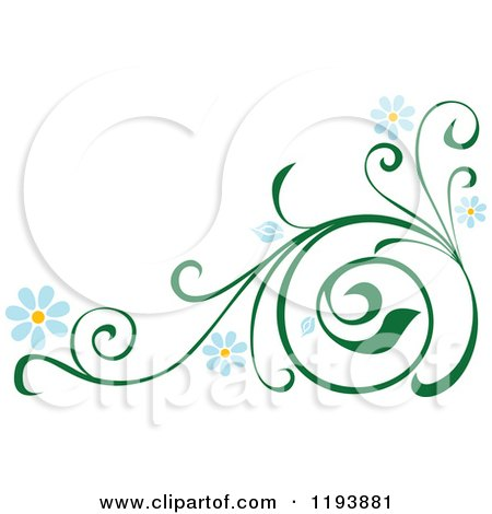 Clipart of a Green Scrolling Vine with Blue Daisy Flowers 3 - Royalty Free Vector Illustration by dero