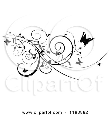 Clipart of a Black and White Scrolling Vine and Butterflies - Royalty Free Vector Illustration by dero
