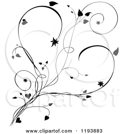 Clipart of a Black and White Scrolling Vine and Hearts ...
