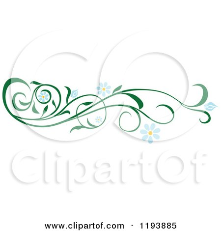 Clipart of a Green Scrolling Vine with Blue Daisy Flowers - Royalty Free Vector Illustration by dero