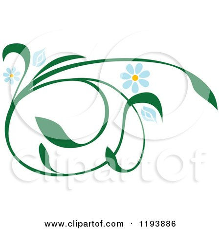 Clipart of a Green Scrolling Vine with Blue Daisy Flowers 2 - Royalty Free Vector Illustration by dero