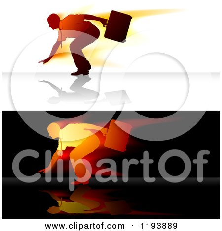 Clipart of a Businessman Leaning Against a Strong Wind, Shown in Two Colorings - Royalty Free Vector Illustration by dero