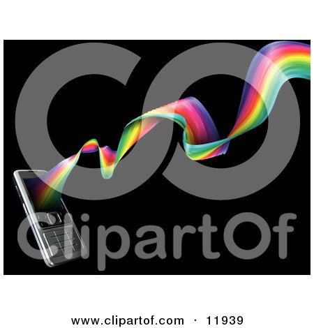 Rainbow Spiraling Out From a Modern Cell Phone Posters, Art Prints