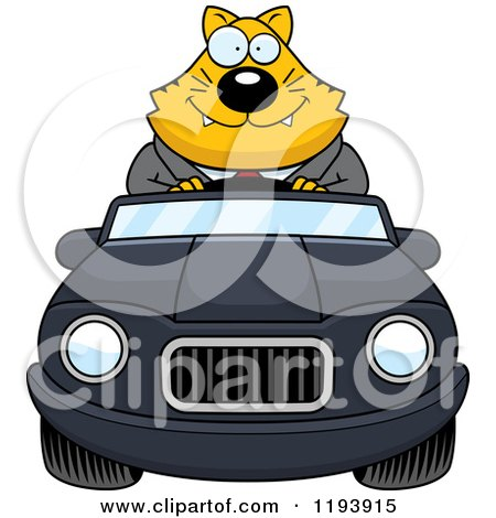 Cartoon of a Happy Chubby Business Cat Driving a Convertible Car - Royalty Free Vector Clipart by Cory Thoman