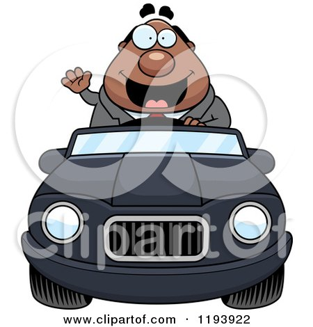 Cartoon of a Waving Chubby Black Businessman Driving a Convertible Car - Royalty Free Vector Clipart by Cory Thoman