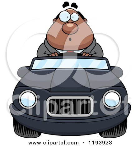 Cartoon of a Surprised Chubby Black Businessman Driving a Convertible Car - Royalty Free Vector Clipart by Cory Thoman