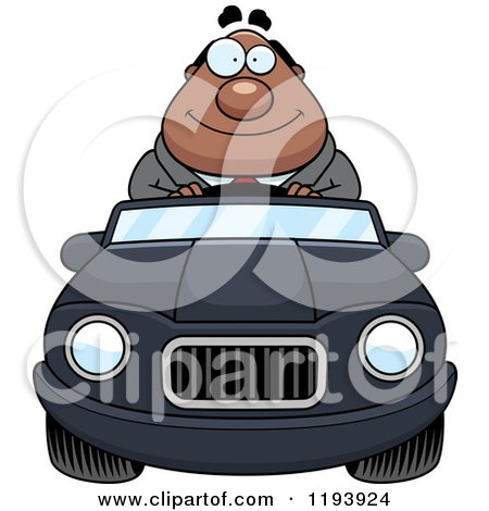 Cartoon of a Happy Chubby Black Businessman Driving a Convertible Car - Royalty Free Vector Clipart by Cory Thoman