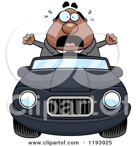 Cartoon of a Scared Chubby Black Businessman Driving a Convertible Car - Royalty Free Vector Clipart by Cory Thoman