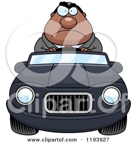 Cartoon of a Mad Chubby Black Businessman Driving a Convertible Car - Royalty Free Vector Clipart by Cory Thoman