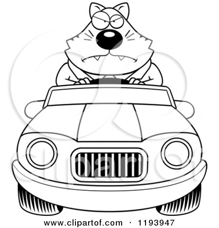 Cartoon of a Black And White Mad Chubby Business Cat Driving a Convertible Car - Royalty Free Vector Clipart by Cory Thoman