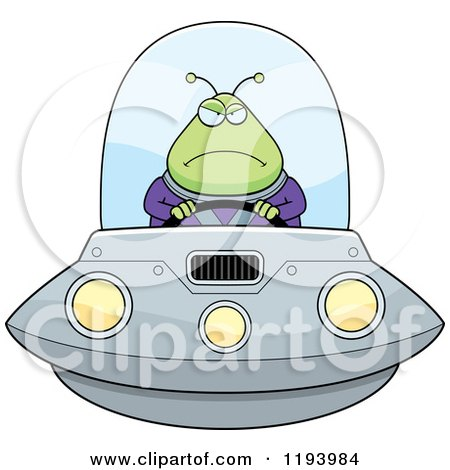Cartoon Of A Mad Chubby Alien Flying A Ufo Royalty Free Vector Clipart