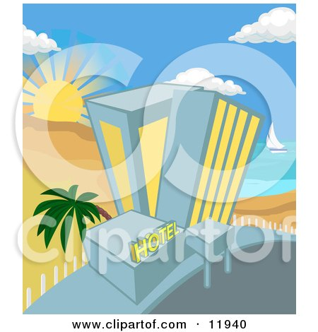 Hotel on a Tropical Beachfront Posters, Art Prints