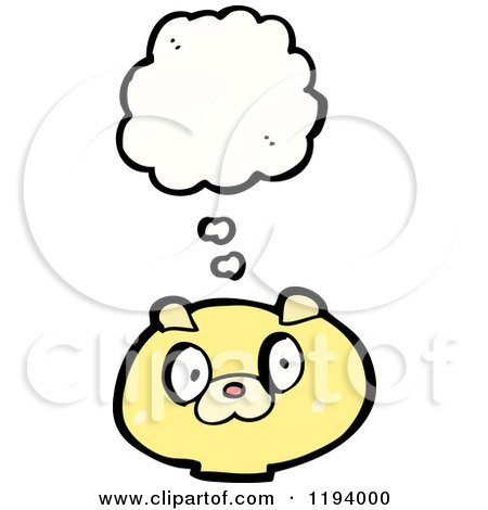 Cartoon of a Bear Thinking - Royalty Free Vector Illustration by lineartestpilot