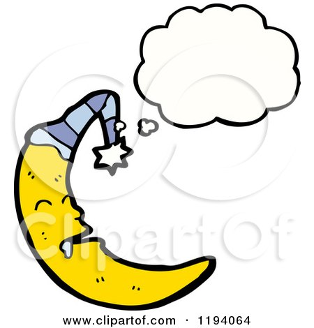 Cartoon of a Moon in a Night Cap Thinking - Royalty Free Vector Illustration by lineartestpilot