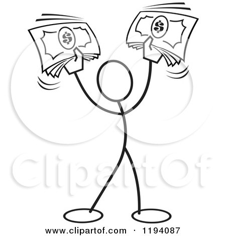 Cartoon of a Black and White Stickler Man Holding up Cash Money - Royalty Free Vector Clipart by Johnny Sajem